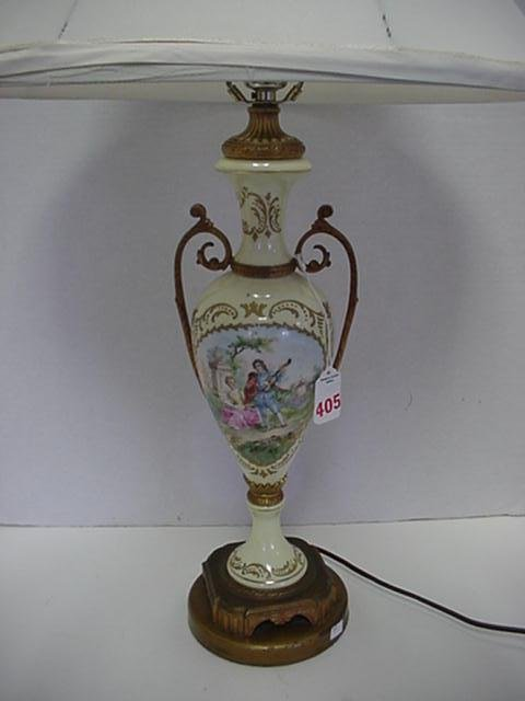 405: Artist Signed Romantic Painted Scenic Lamp with Sh