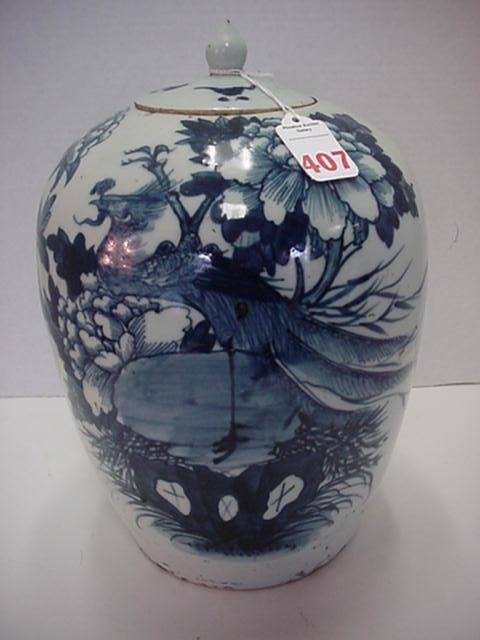 407: Early Blue and White Arita Covered Japanese Jar: