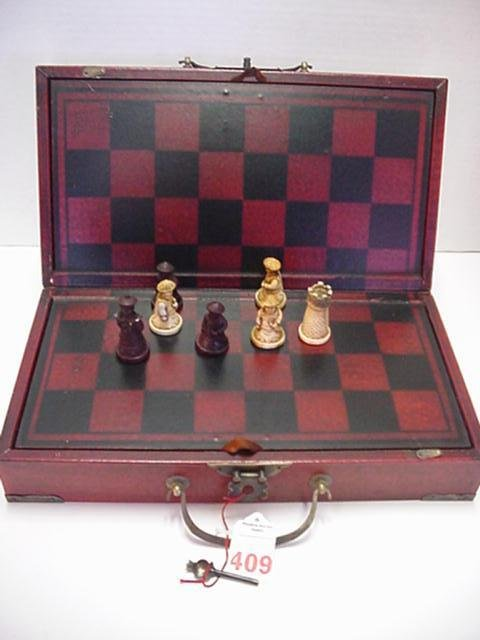 409: Chinese Chess Set in Calendar Box with Game Board: