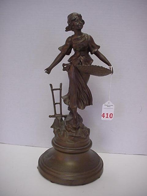 410: 1920's Spelter Studio Signed Maiden with Basket: