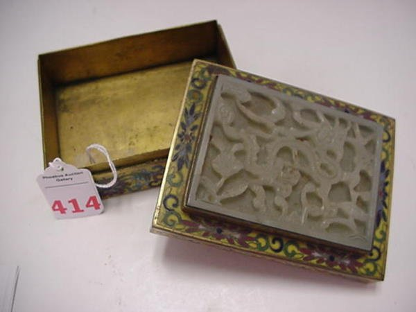 414: Antique Cloisonné and Jade Covered Box: