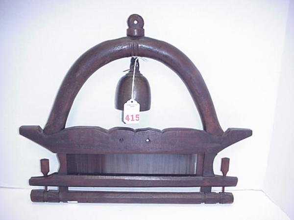 415: Rosewood Framed Temple Chanting Bell:
