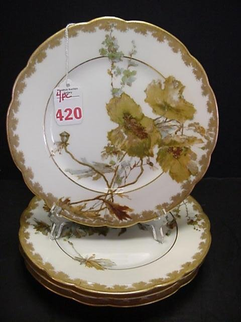 420: Four Hand Painted Haviland Limoges Plates: