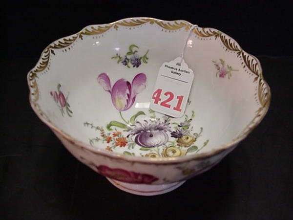 421: Dresden Handpainted Footed Bowl: