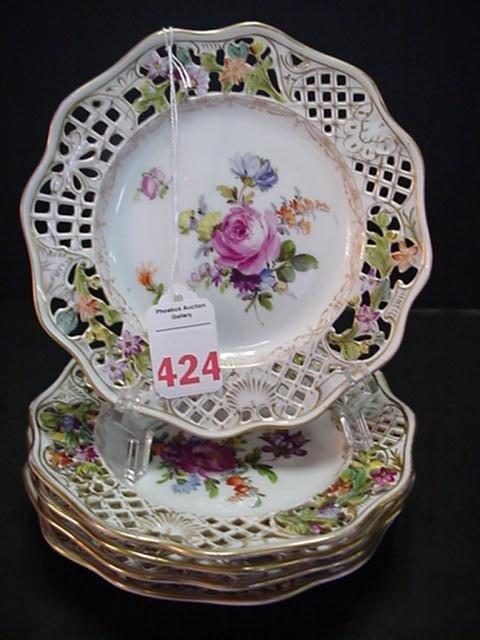 424: 5 Dresden Pierced Rim Bread and Butter Plates: