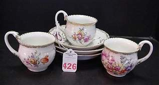 426: Decorated Meissen Blank Cups and Saucers: