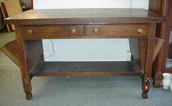 476: Mission Oak Arts and Crafts Period Desk: