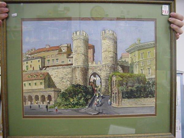 712: KENNETH HARRIS Village Street Scene Watercolor: