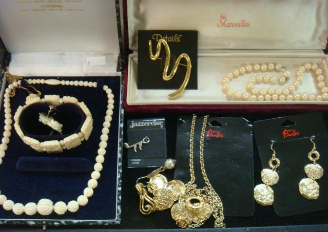 Ensemble of Bone and Costume Jewelry: