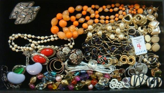 Montage of Costume Jewelry Necklaces and Earrings: