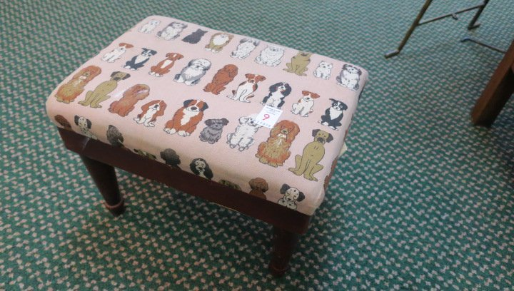 Lift Top Foot Stool with Dog Upholstery: