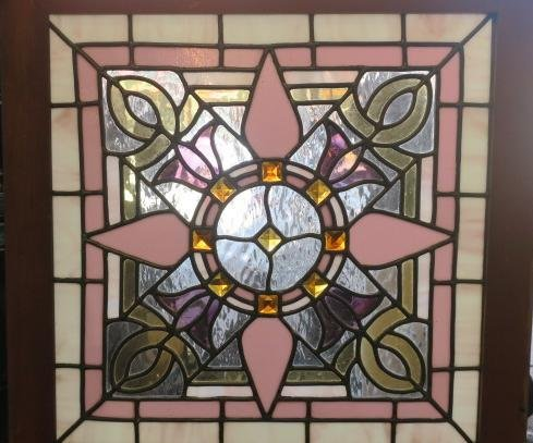 Square Purple, Lilac and White Stained Glass Window: