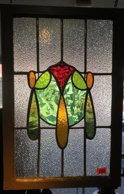 Art Deco Style Scarab Stained Glass Window: