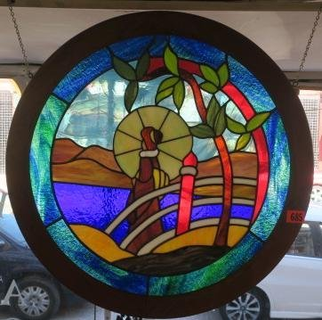 Round Stained Glass Window with Lady in Kimono: