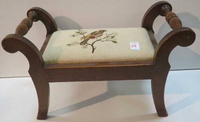 Needlepoint Footstool of Robin on Dogwood Branch: