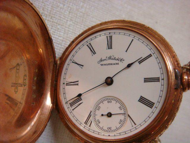 WALTHAM Ladies 14KT Gold  Pocket Watch with Diamond: