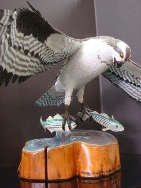 BOB BARNES, Handcarved Wooden Osprey with Two Bass: