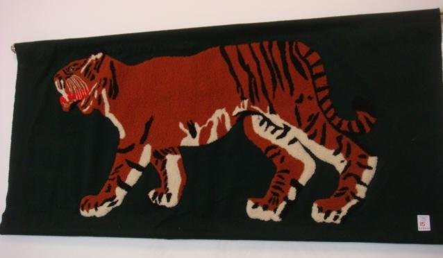 Two Sided Punchneedle Embroidered Walking Tiger: