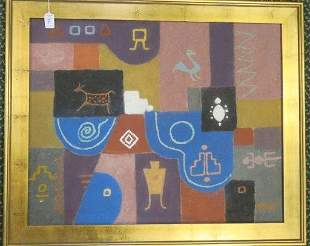 "L PATE ""Southwestern Symbols"" Sand Oil on Board:"