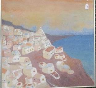 Modern Indian Painting on Canvas of Pueblo, Unsigned: