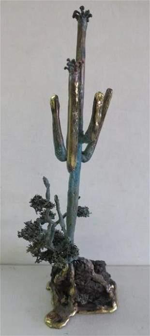 MARTIN BORJA Bronze Manganese &Basalt Cactus Sculpture: