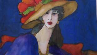 "TOM BARNES ""Bernice"" Watercolor:"