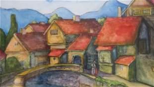 "TOM BARNES ""Lover's Bridge"" Watercolor:"