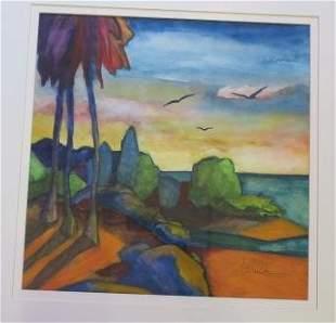 "TOM BARNES ""Tropical Beach"" Watercolor:"