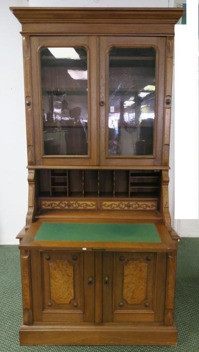 Exceptional 19th C. Golden Oak 2 pc. Secretary/Desk: