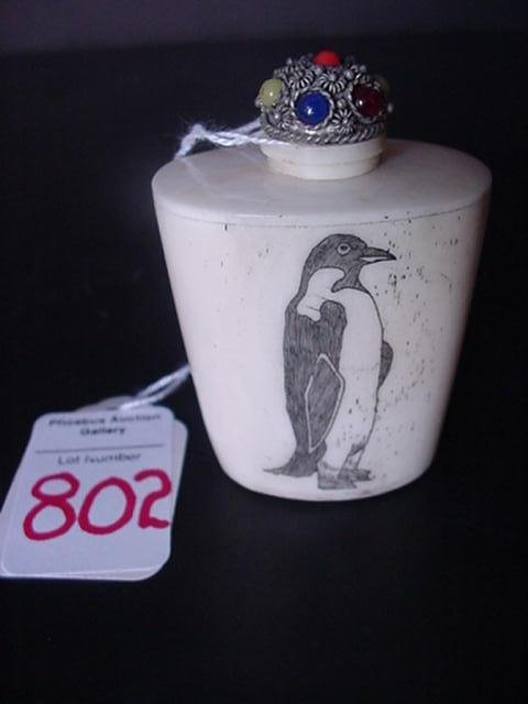 Scrimshaw on Carved Bone Snuff Bottle: