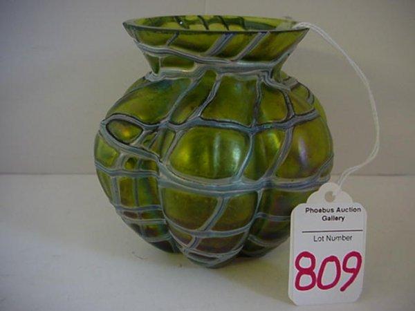 Green Iridescent Lobed Loetz Art Glass Vase: