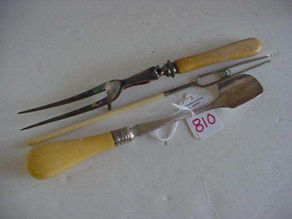 Three Ivory and Bone Handled Vintage Utensils: