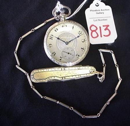 Hamilton 17 Jewel Pocket Watch with 14KT Knife:
