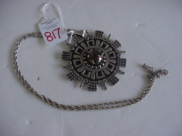 925 Mexican Sterling Silver Signed Pendant with Topaz: