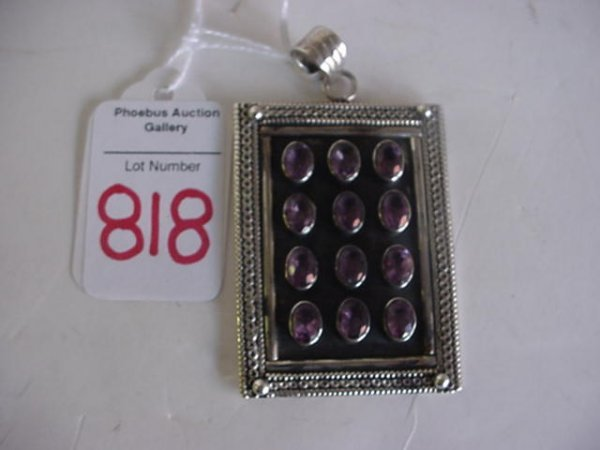 925 Sterling Silver and Amethyst Pendent: