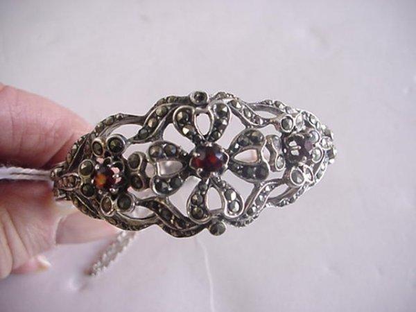 825 Silver Marquesite and Garnet Bracelet: