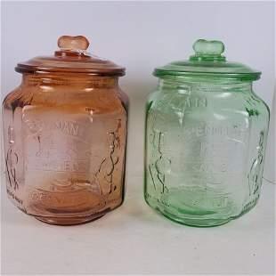 Two PLANTER'S PEANUTS Mr. Peanut Glass Store Jars: