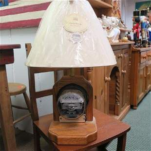 Lamp with Working SANGAMO ELECTRIC METER in Base: