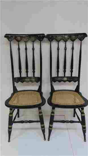 Pair Hitchcock Style Side Chairs with Cane Seats: