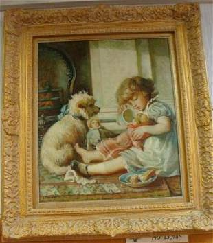 Child with Dog Oil on Canvas Signed E. THOMPSON: