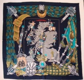 "Hermes Silk Scarf Depicting ""scotland"" In Box:"
