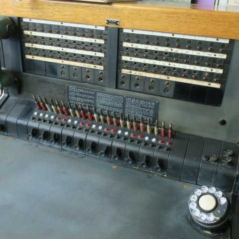 front view of a phone switchboard