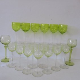 Seventeen Etched Chartreuse Hock Wine Stems: