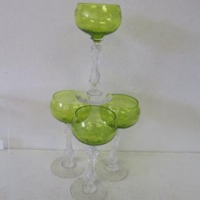 Four Saint Louis Glass Mikado Hock Wine Stems:
