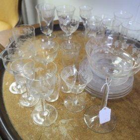 """Fostoria """"vintage"""" Grapevine Etched Glassware 22 Pcs:"""