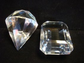 """Two Tiffany & Co Glass """"jewel"""" Paperweights:"""