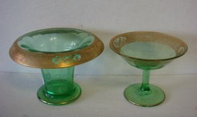 Wheeling Decorated Green Glass Vase And Compote: