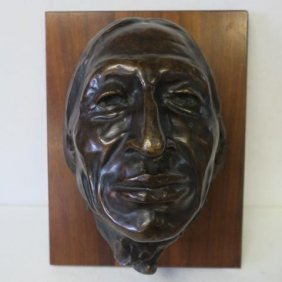E.w. Deming, Bronze Half Bust Of Chief Iron Tail: