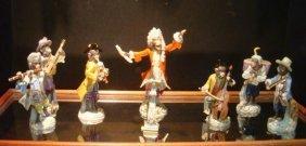 19th C. Eight Piece Meissen Monkey Band Orchestra: