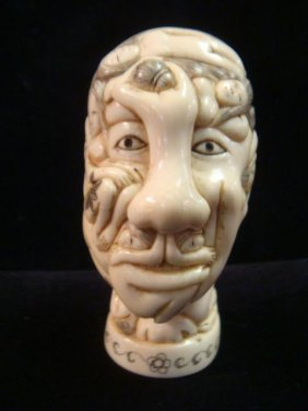 """Erotic Ivory """"what's On A Man's Mind"""" Hand Carved:"""
